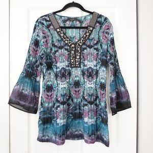 Alfani Bead Embellished Bell Sleeve Tunic